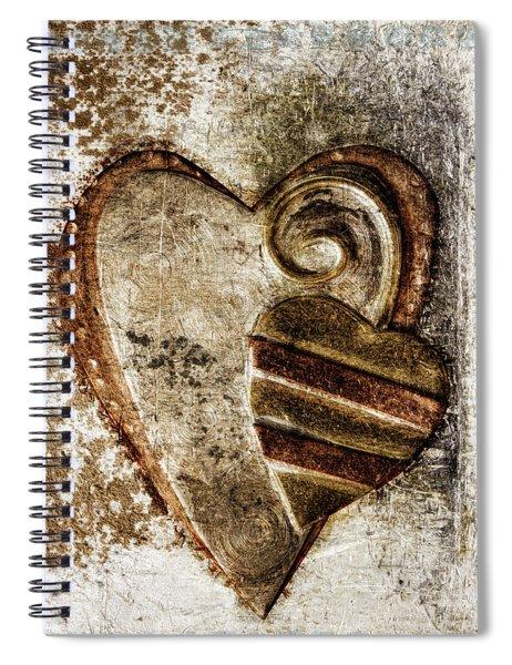 Warm Love Metal Heart Spiral Notebook