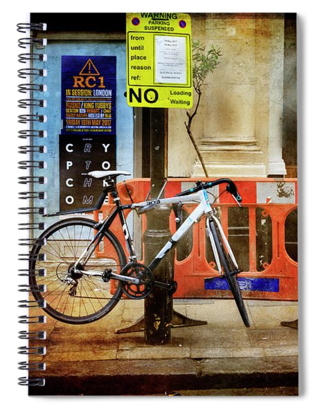 Warning Bicycle Suspended Spiral Notebook