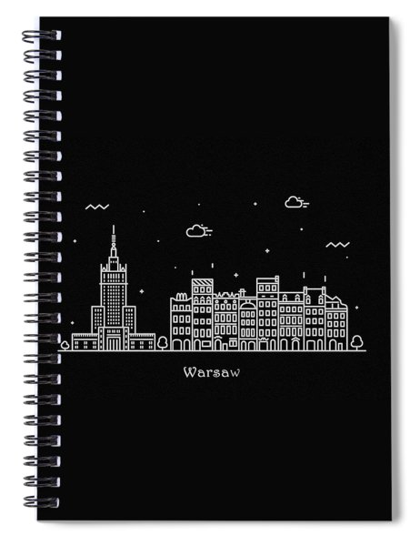Warsaw Skyline Travel Poster Spiral Notebook