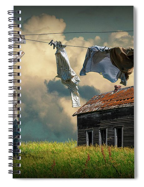 Wash On The Line By Abandoned House Spiral Notebook