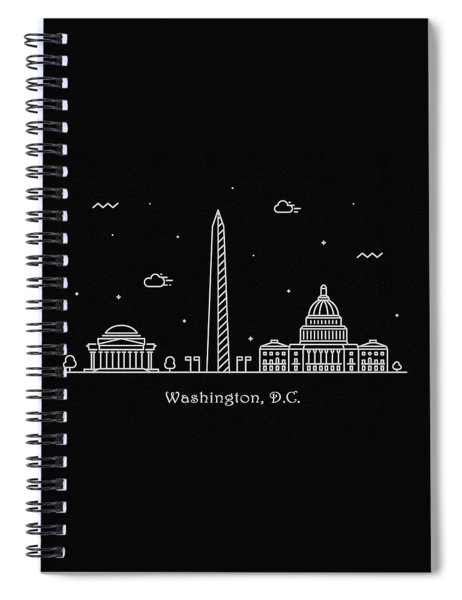 Washington D.c. Skyline Travel Poster Spiral Notebook