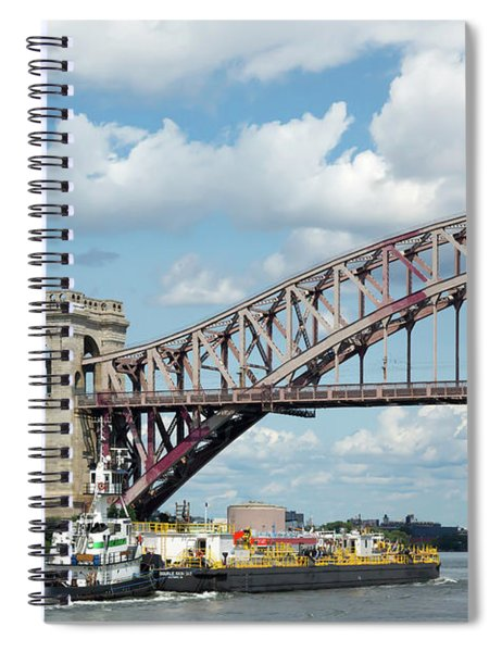 Hell Gate Bridge And Barge Spiral Notebook