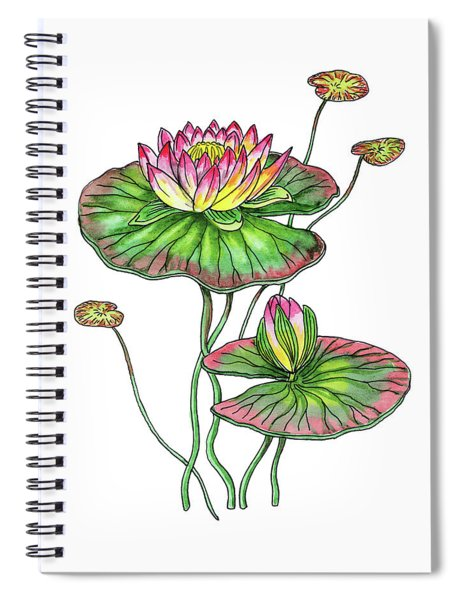 Water Lily Botanical Watercolor  Spiral Notebook