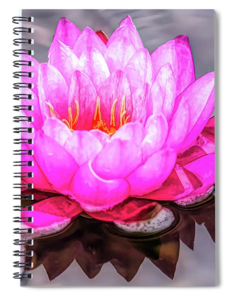Water Lily In The Rain Spiral Notebook