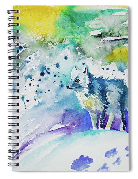 Watercolor - Arctic Fox Spiral Notebook