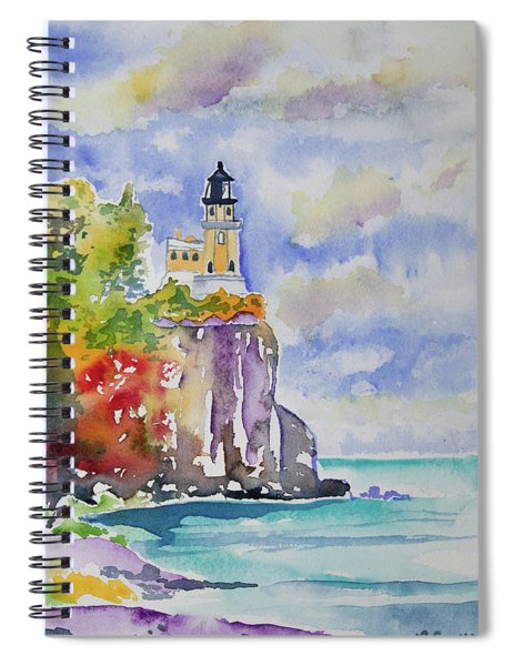 Watercolor - Autumn At Split Rock Lighthouse Spiral Notebook