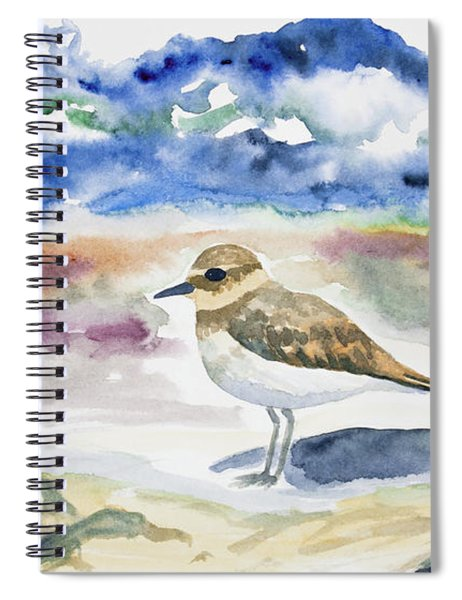 Watercolor - Double-banded Plover On The Beach Spiral Notebook