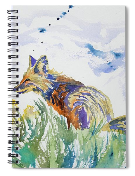 Watercolor - Fox On The Lookout Spiral Notebook