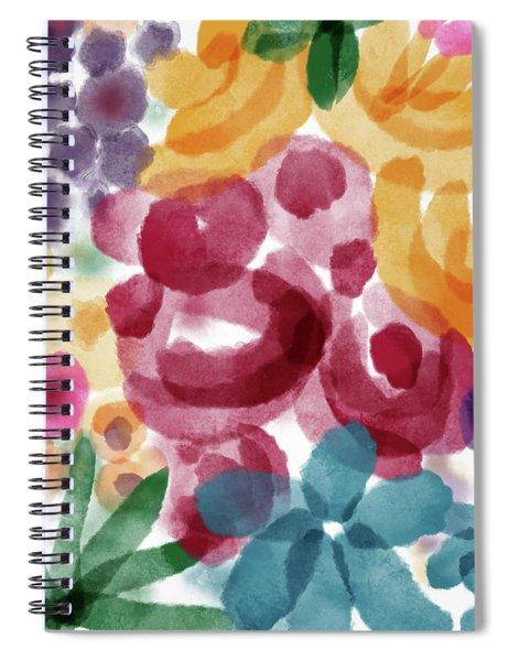 Watercolor Garden Flowers- Art By Linda Woods Spiral Notebook