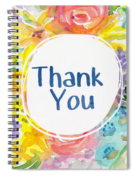 Watercolor Garden Thank You- Art By Linda Woods Spiral Notebook