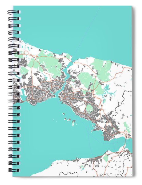 Watercolor Istanbul Map Spiral Notebook