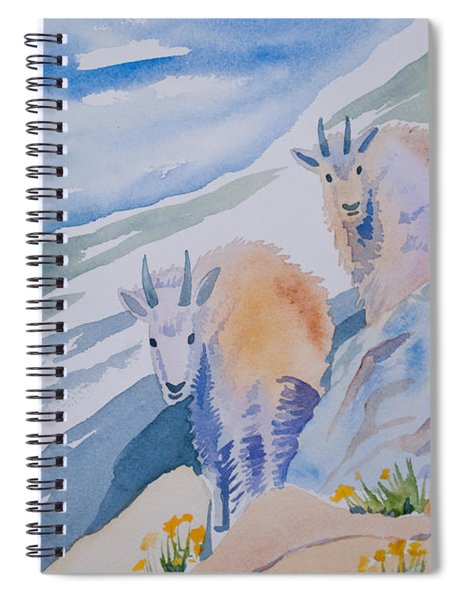 Watercolor - Mountain Goats On Quandary Spiral Notebook
