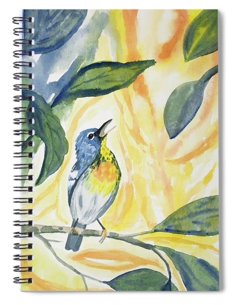 Watercolor - Northern Parula In Song Spiral Notebook