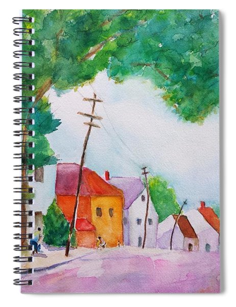 Watercolor Painting Of Cottage Street Spiral Notebook