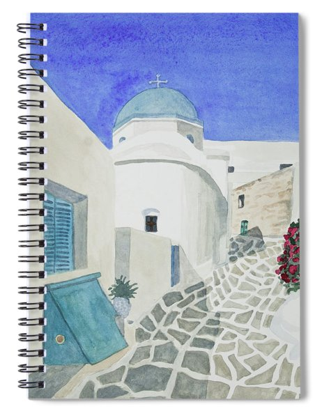 Watercolor - Paros Church And Street Scene Spiral Notebook