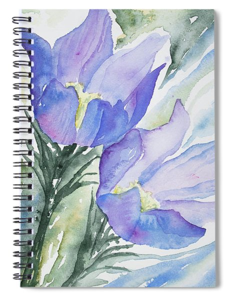 Watercolor - Pasque Flowers Spiral Notebook