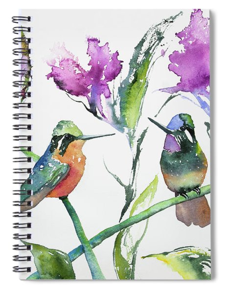 Watercolor - Purple-throated Mountain Gems And Flowers Spiral Notebook