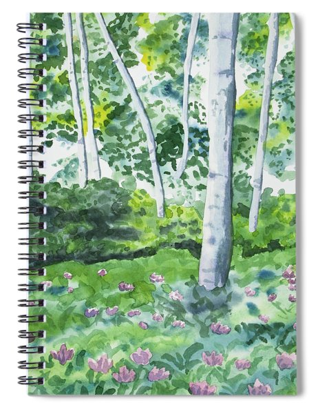 Watercolor - Spring Forest And Flowers Spiral Notebook