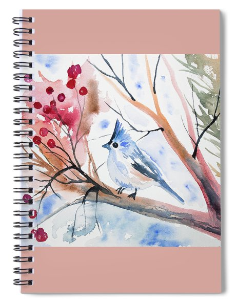 Watercolor - Tufted Titmouse With Winter Berries Spiral Notebook