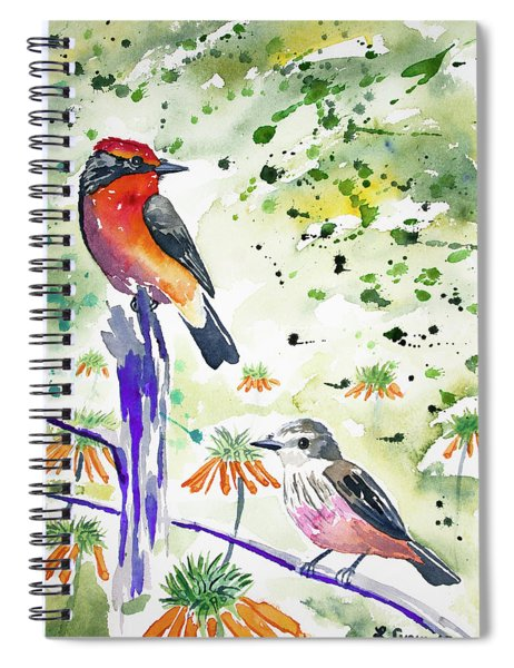 Watercolor - Vermilion Flycatcher Pair In Quito Spiral Notebook