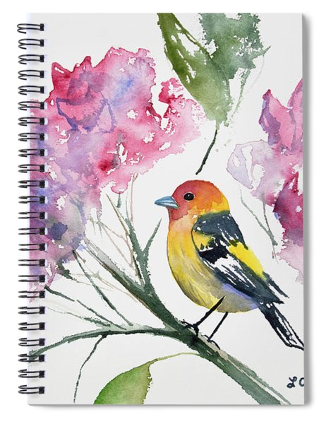 Watercolor - Western Tanager In A Flowering Tree Spiral Notebook