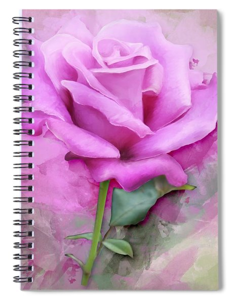 Watercolour Pastel Lilac Rose Spiral Notebook