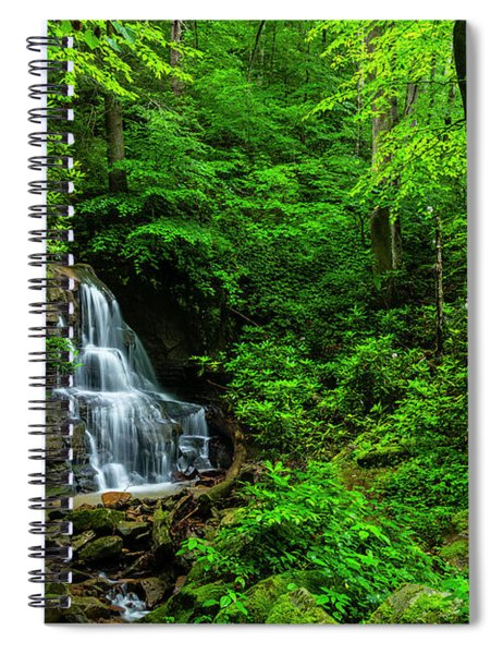 Waterfall And Rhododendron In Bloom Spiral Notebook