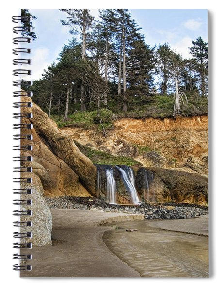 Waterfall At Hug Point State Park Oregon Spiral Notebook