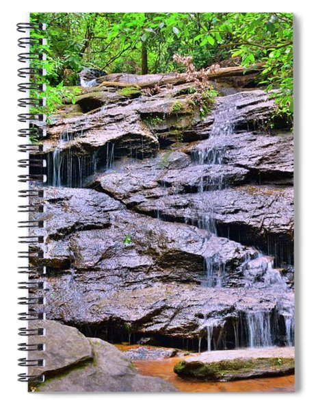 Waterfall At Stumphouse Tunnel Oconee County South Carolina Spiral Notebook by Lisa Wooten