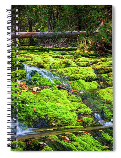 Waterfall Over Mossy Rocks Spiral Notebook