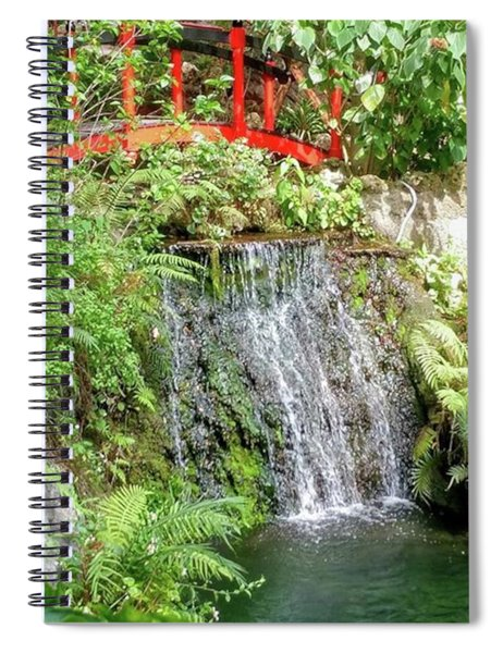 Waterfall With Red Bridge Spiral Notebook