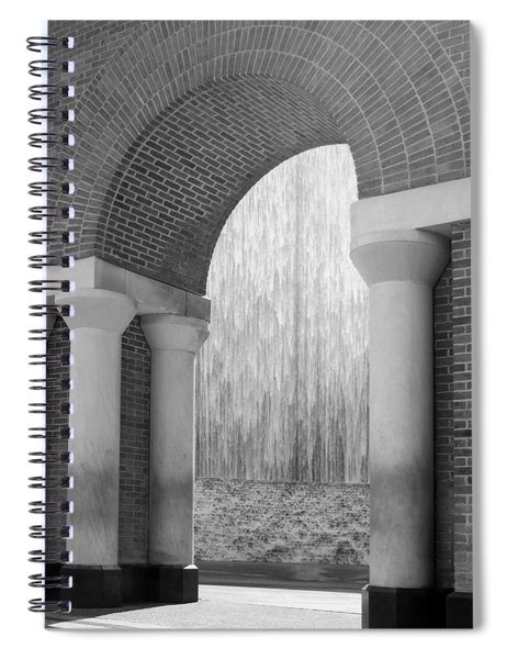 Waterwall And Arch 3 In Black And White Spiral Notebook