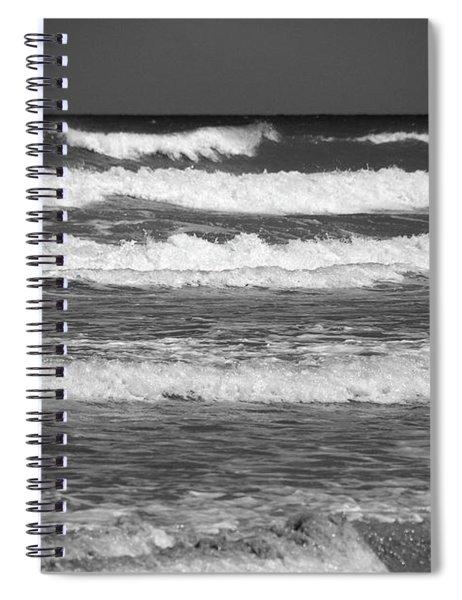 Waves 3 In Bw Spiral Notebook