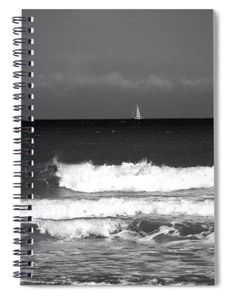 Waves 4 In Bw Spiral Notebook