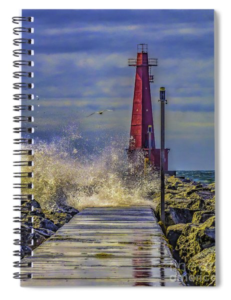 Waves At Muskegon South Breakwater Spiral Notebook