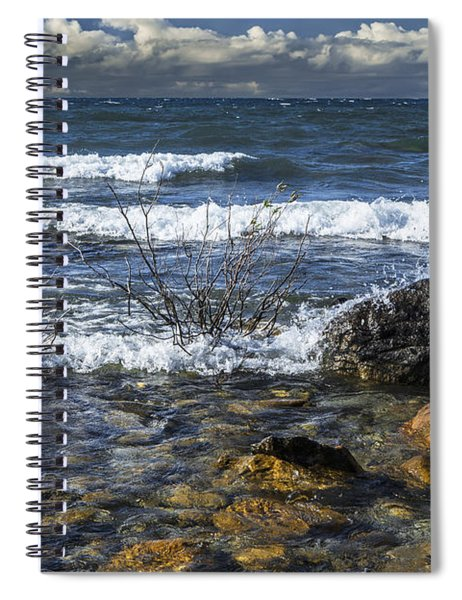 Waves Crashing Ashore At Northport Point On Lake Michigan Spiral Notebook