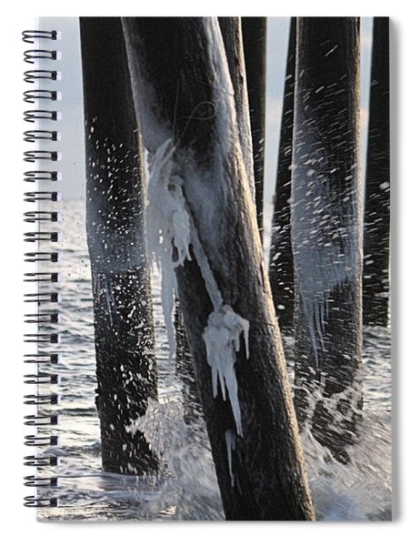 Waves Splashing Icicles Spiral Notebook