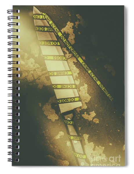 Weapon Wrapped In Yellow Crime Scene Ribbon Spiral Notebook