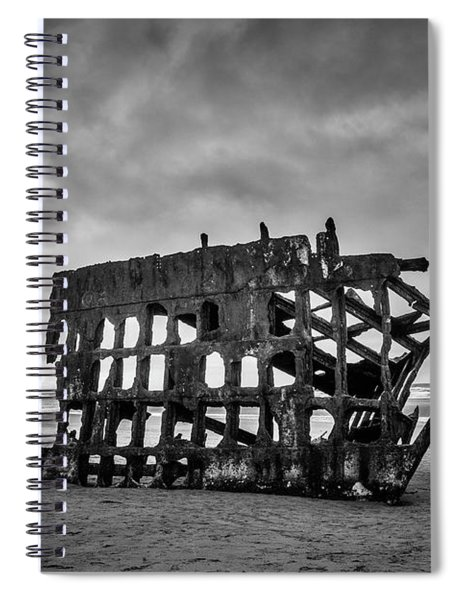 Weathered Rusting Shipwreck In Black And White Spiral Notebook