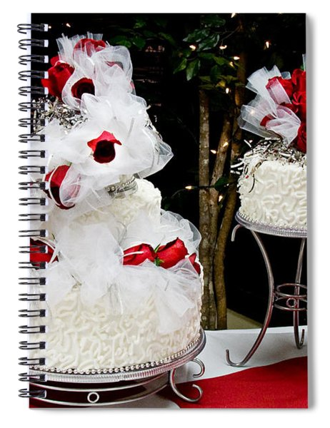 Wedding Cake And Red Roses Spiral Notebook