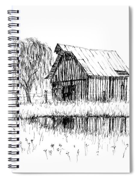 Weeping Willow And Barn Two Spiral Notebook
