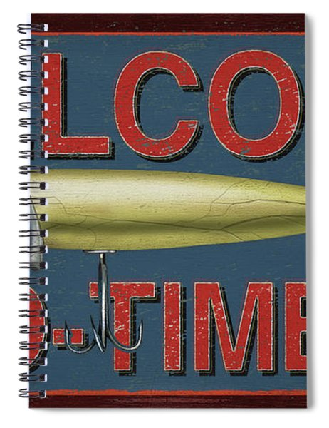 Welcome Fishing Sign Spiral Notebook
