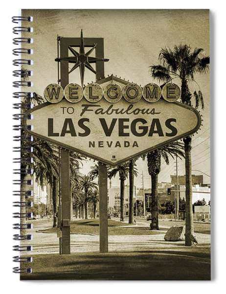 Welcome To Las Vegas Series Sepia Grunge Spiral Notebook