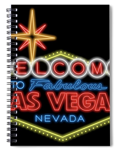 Welcome To Las Vegas Sign Digital Drawing Night Spiral Notebook