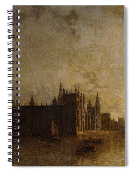 Westminster Abbey, The Houses Of Parliament With The Construction Of Westminster Bridge Spiral Notebook