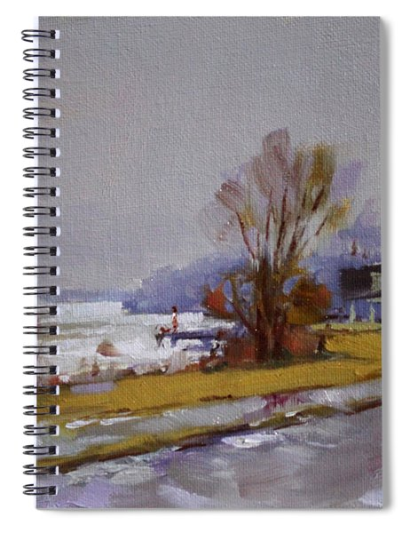 Wet And Icy At Gratwick Waterfront Park Spiral Notebook