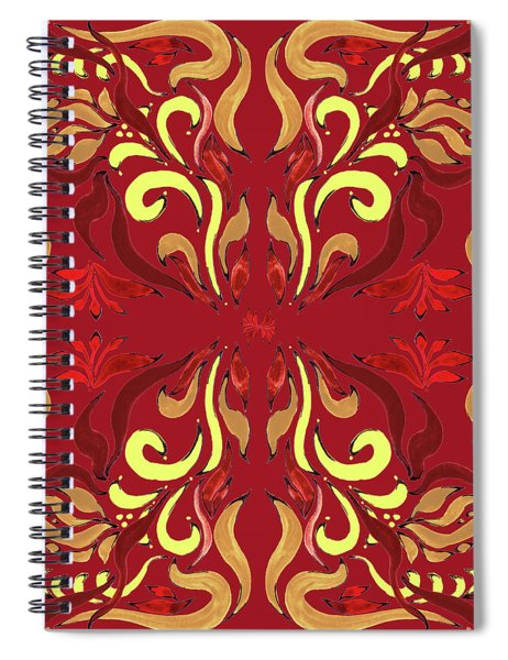 Whimsical Organic Pattern In Yellow And Red II Spiral Notebook
