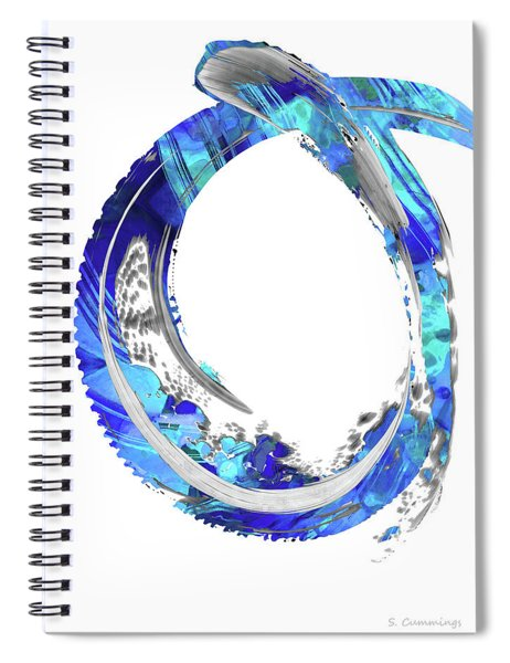 White And Blue Art - Swirling 4 - Sharon Cummings Spiral Notebook