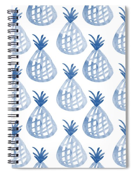 White And Blue Pineapple Party Spiral Notebook