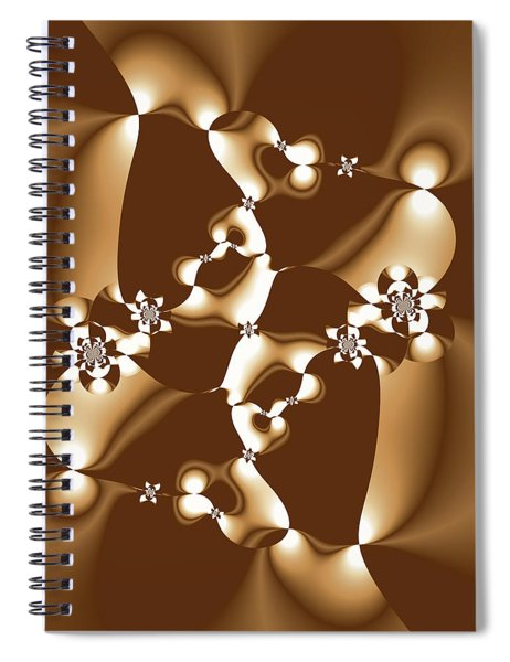 White And Milk Chocolate Fractal Spiral Notebook